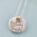 Chocolate and Steel Frenchie Necklace