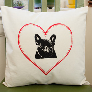 French Bulldog, Frenchie, pillow cover, muslin
